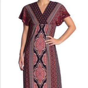 London Times Cap Sleeve Pattern Jersey Maxi Dress